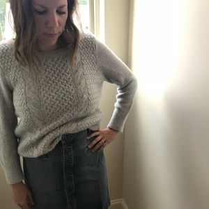 Ann Taylor LOFT Gray Cable-knit Sweater
